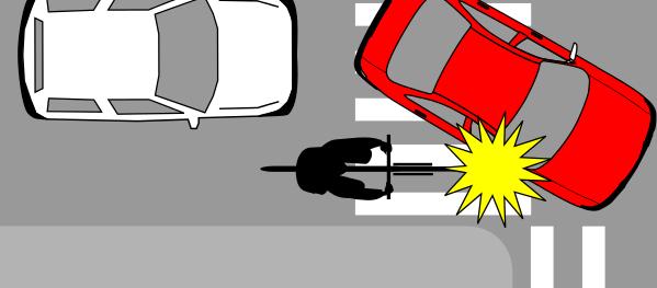 El riesgo más frecuente es ser arrollado por un automovilista que da vuelta, sobre todo si quedamos en su ángulo ciego o es ciego funcional.